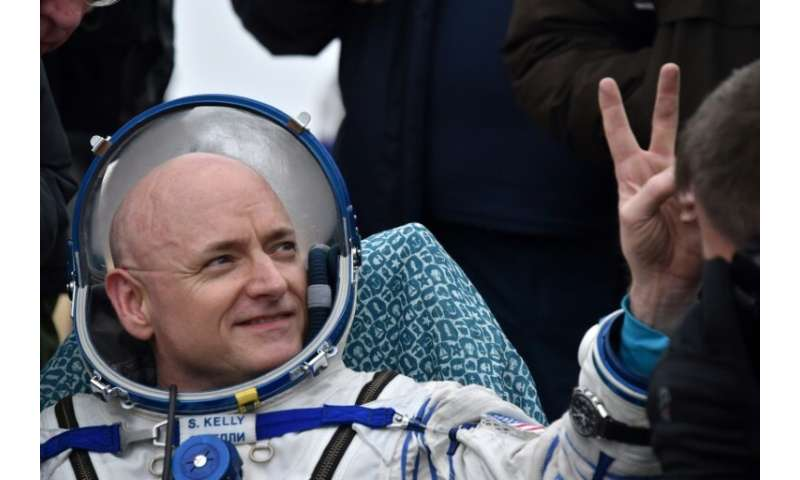 US astronaut Scott Kelly after returning to Earth on March 2, 2016 after a nearly one-year stay aboard the International Space S