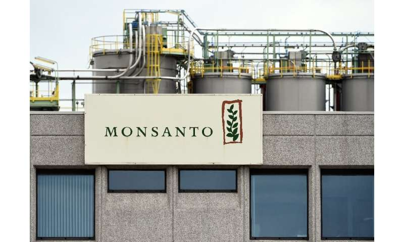 A picture taken on May 24, 2016 in Lillo near Antwerp shows the Monsanto logo on a building at the firm Manufacturing Site and O
