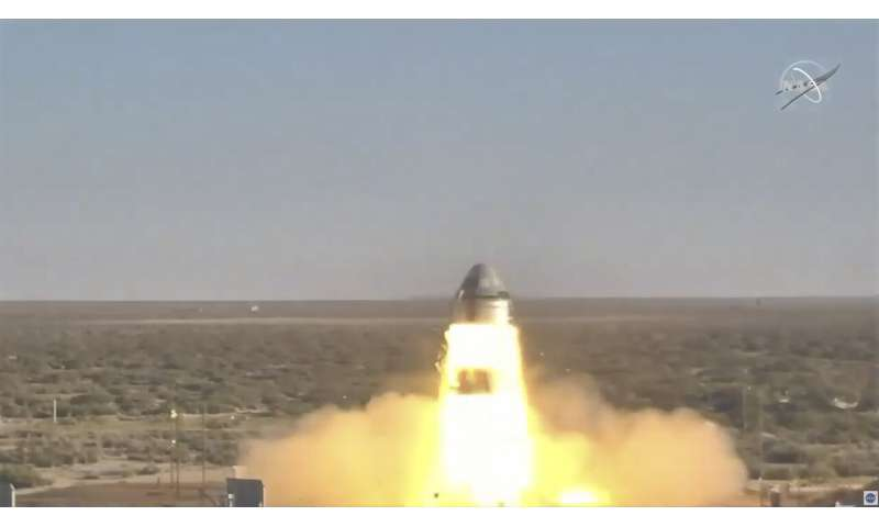 Boeing crew capsule launched mile into air on test flight