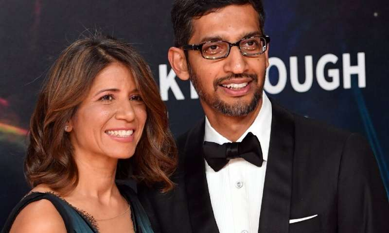 In this file photo taken on November 03, 2019 Google CEO Sundar Pichai and his wife Anjali Pichai arrive for the 8th annual Brea