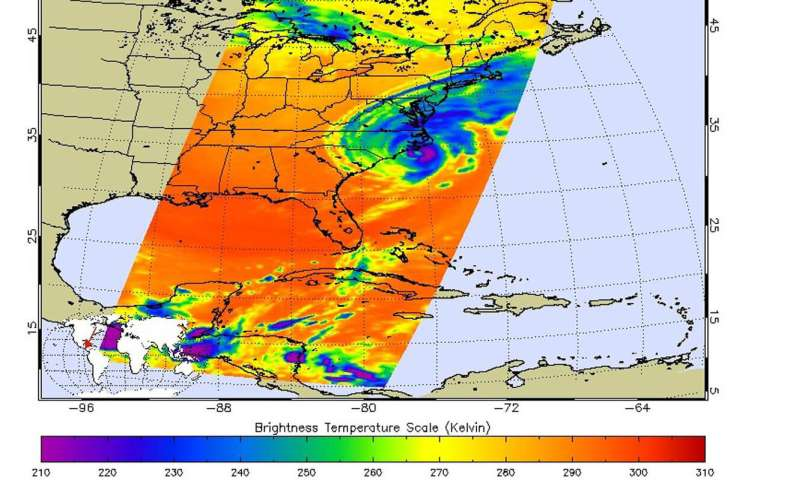 NASA examines Dorian's rainfall, temperatures along Carolina coast