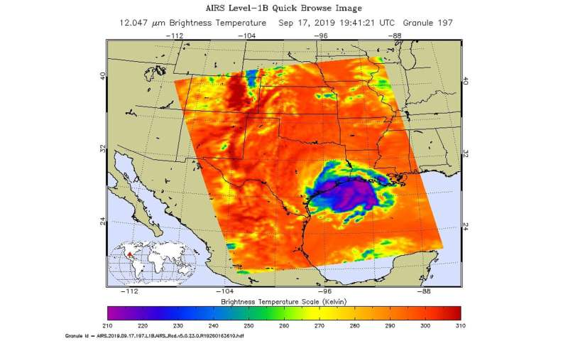 NASA infrared data shows heavy rain potential along gulf from Imelda