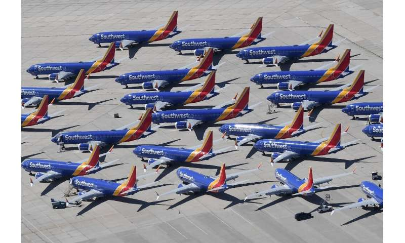 Southwest Airlines Boeing 737 MAX aircraft parked on the tarmac after being grounded