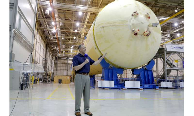 Top NASA official gets look at next moon rocket