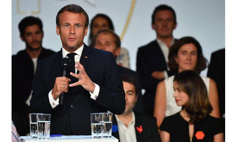 French President Emmanuel Macron addressing tech executives and venture capitalists at a dinner at the Elysee Palace in Paris on