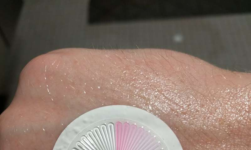 **Waterproof skin patch allows for monitoring biometrics during water sports