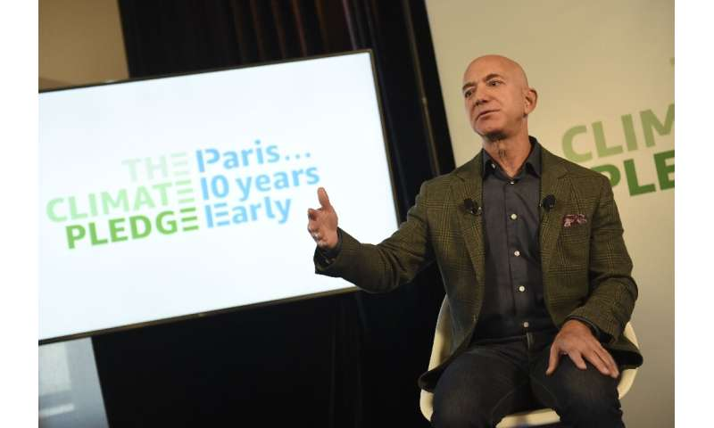 Amazon founder and CEO Jeff Bezos pledged the online retailer and technology firm will reach the Paris climate accord goals 10 y