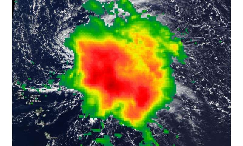 NASA estimates tropical storm Sebastien's rainfall rates