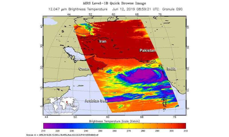 NASA finds Tropical Cyclone's Vayu getting stretched