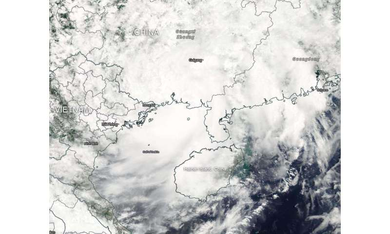 NASA satellite finds Tropical Storm Wipha blankets the Gulf of Tonkin