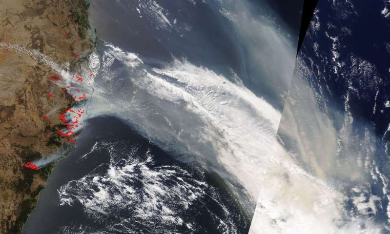 NASA's Terra satellite sees fire and smoke from devastating bushfires in Australia