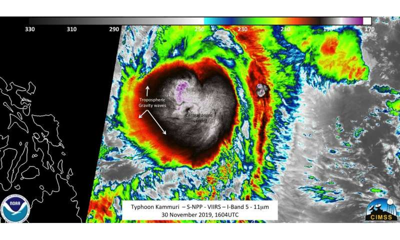 Satellite imagery shows Typhoon Kammuri's center obscured