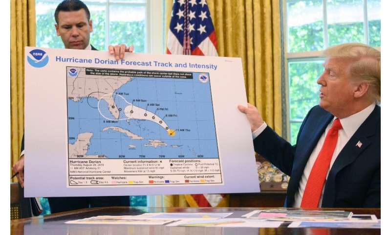 President Donald Trump came under fire for presenting a manipulated image of the trajectory of Hurricane Dorian