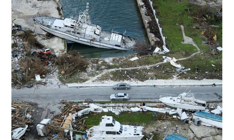 An aerial view of damage from Hurricane Dorian in Marsh Harbour, Great Abaco Island in the Bahamas
