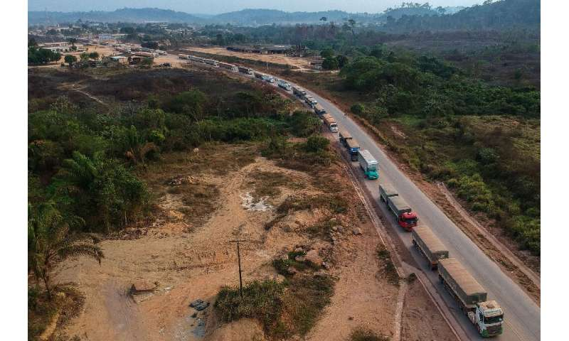 An aerial view of trucks queueing on the BR163 in Brazil's Para state—one of two major transport routes that have played a key r