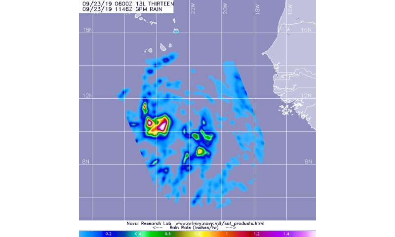 Heavy rainfall found in Tropical Storm Lorenzo by NASA