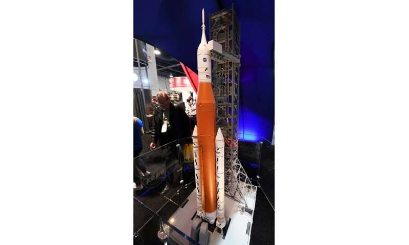 A 1:50 scale model of NASA's Space Launch System (SLS) is displayed at the agency's booth during the Consumer Electronics Show i