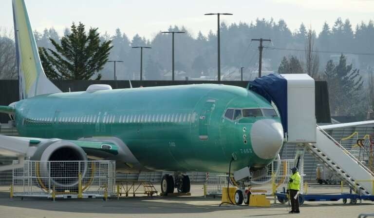 A 737 MAX 9 jet airplane test its engines outside of the Boeing factory in Renton, in the northwestern US state of Washington