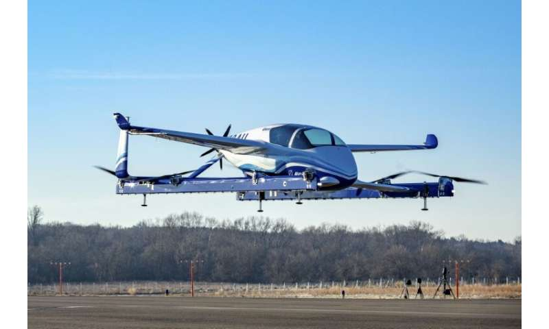 """A Boeing photo shows a prototype """"flying car""""—part of a project aimed at """"on-demand autonomous air transportation"""