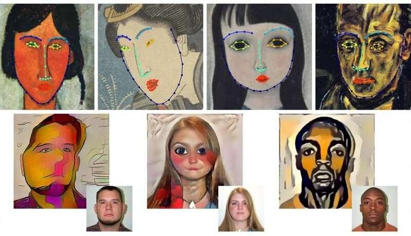 About faces: geometric style of portrait artwork