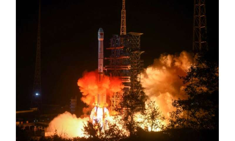 A Chinese Long March 3B rocket lifting off on December 8, 2018, carrying a rover that landed on the dark side of the Moon