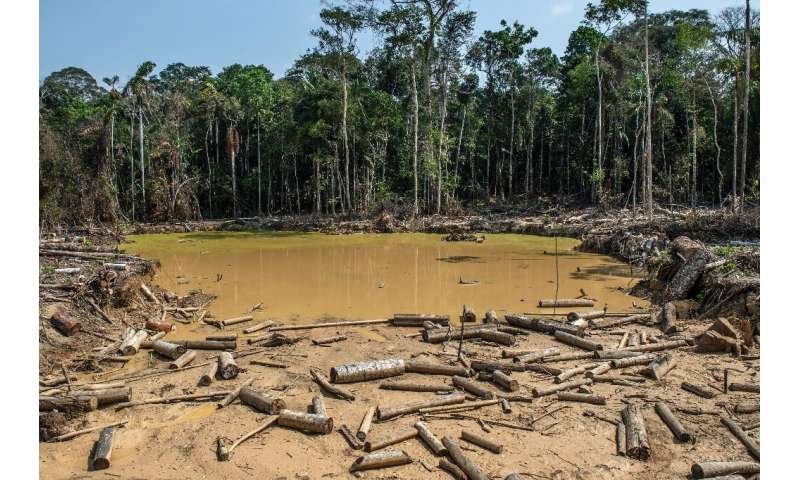 A damaged area of the Amazon rainforest left behind by an illegal mining operation near Puerto Maldonado, Peru