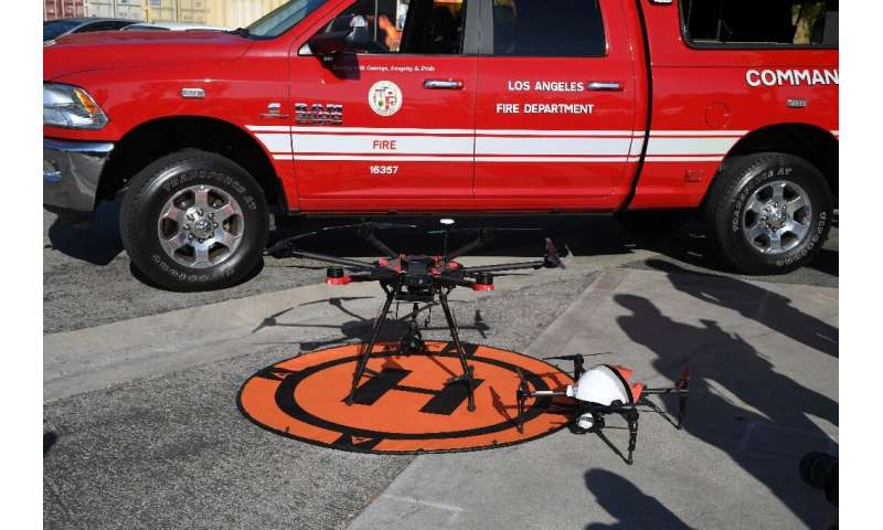 A drone landing pad and command vehicle at a demonstration by the Los Angeles Fire Department on September 23, 2019