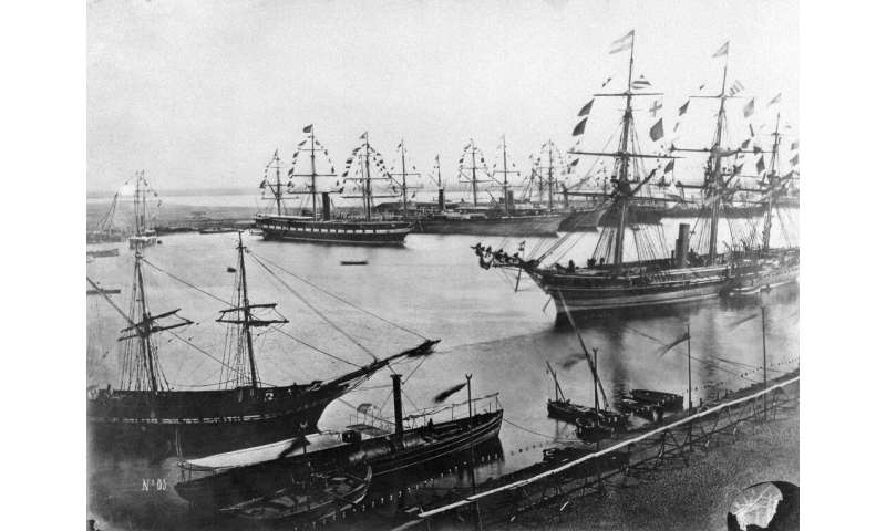 A file photo from November 1869 shows the inauguration of the Suez Canal in Egypt, which opened after a decade-long construction