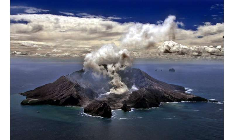 A file picture of New Zealand's most active volcano, Whakarri (White Island), in the Bay of Plenty
