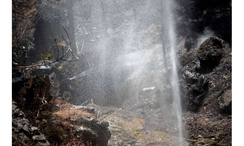 A firefighter douses a forest affected by wildfires in Gran Canaria on the Spanish Canary Islands on August 13, 2019
