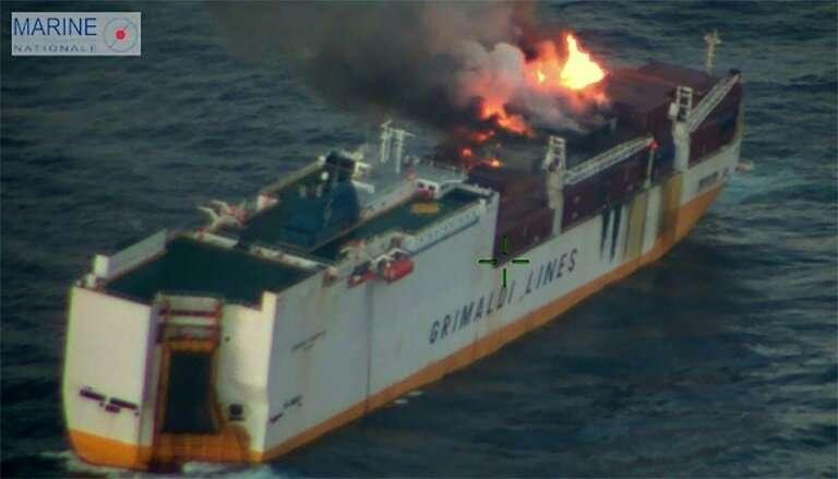 "A first tugboat to reach the stranded ""Grande America"" was unable to extinguish the flames, and two more were on their"