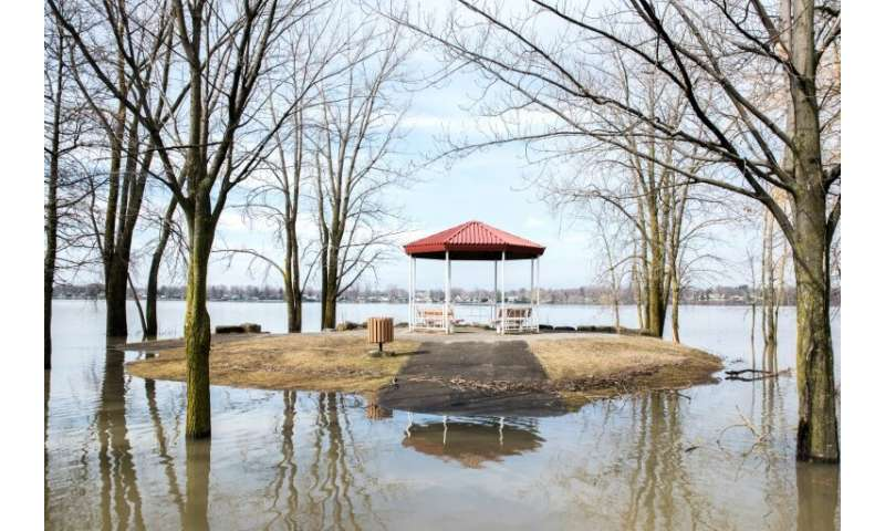 A flooded park in the Canadian town of Laval, north of Montreal