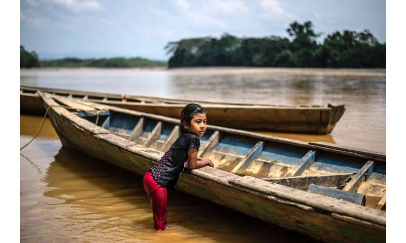 A girl of the Arazaire indigenous group—one of the 38 groups in Madre de Dios region—leans on a dugout canoe in the Inambari riv