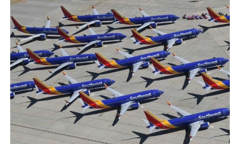 A group of grounded Southwest Airlines Boeing 737 MAX aircraft photographed last month while parked on a tarmac in California