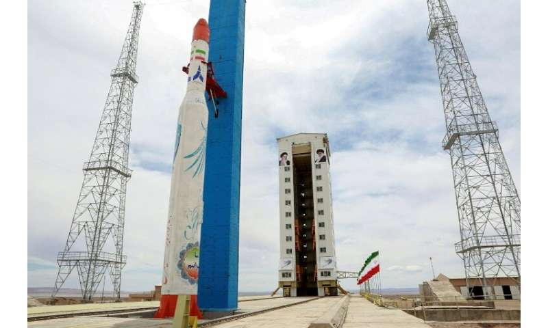 A handout picture released by Iran's Defence Ministry on July 27, 2017 shows a Simorgh (Phoenix) satellite rocket at its launch