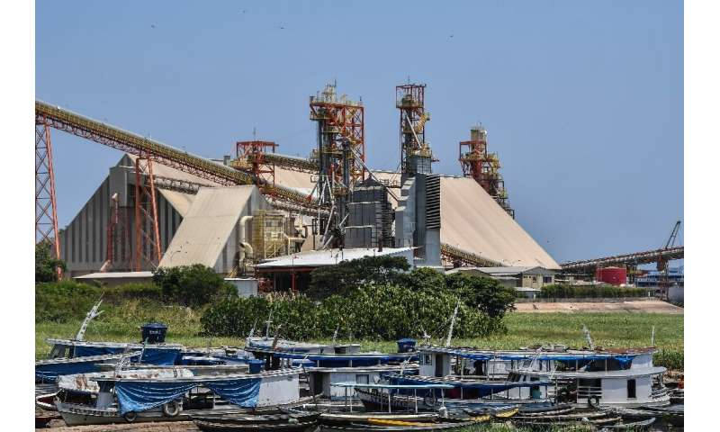 A loading terminal on the Tapajos river in Santarem, Brazil that belongs to US company Cargill—Brazil's ports are overwhelmed wi