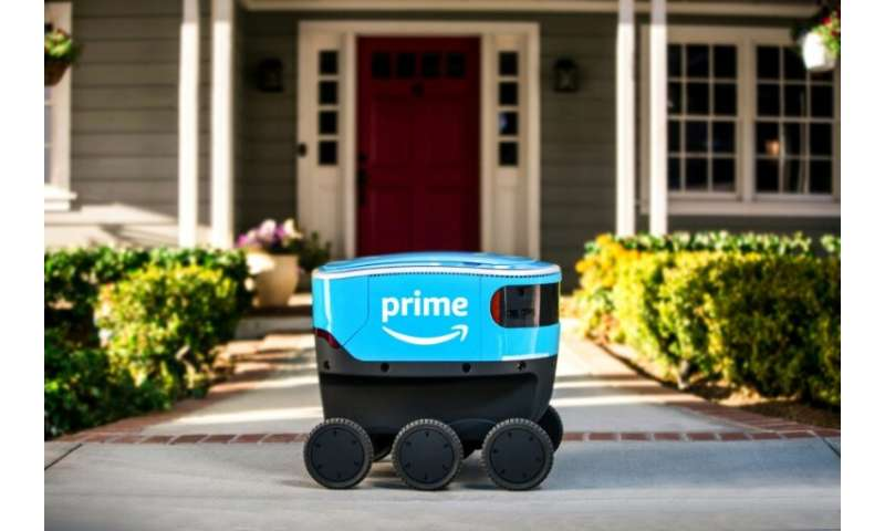 """Amazon's new autonomous delivery robot called """"Scout,"""" seen in a company photo, began delivering packages to customers"""
