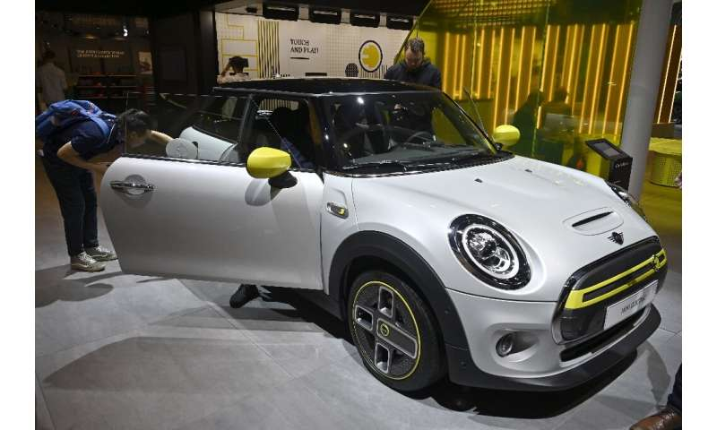 A Mini Electric car is put on display at the IAA Car Show in Frankfurt, in September