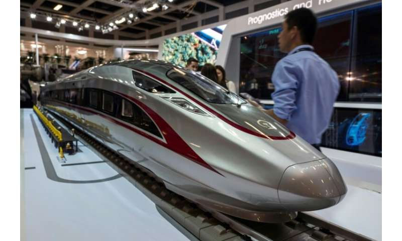 "A model of the high speed ""Fuxing"" bullet train made by Chinese rail giant CRRC is on display at Innotrans, the railwa"