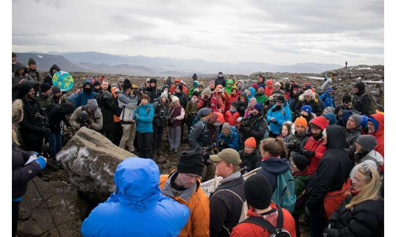 A monument was unveiled at the site of Okjokull, Iceland's first glacier lost to climate change