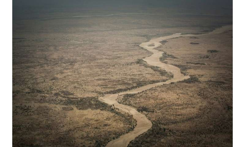 An aerial view of the Moura wadi between the eastern towns of Abeche and Farchana, near Hadjer Hadid. The rains can turn wadis i