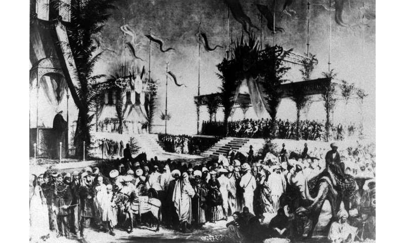 An archive photo from 1869 shows the lavish inauguration ceremony for the Suez Canal, even attended by Empress Eugenie, wife of