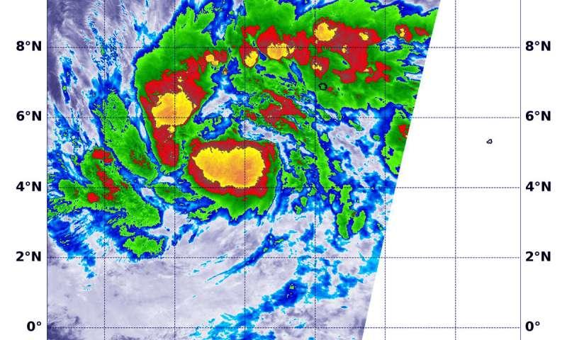 A NASA infrared look at Tropical Depression 02W, warnings posted