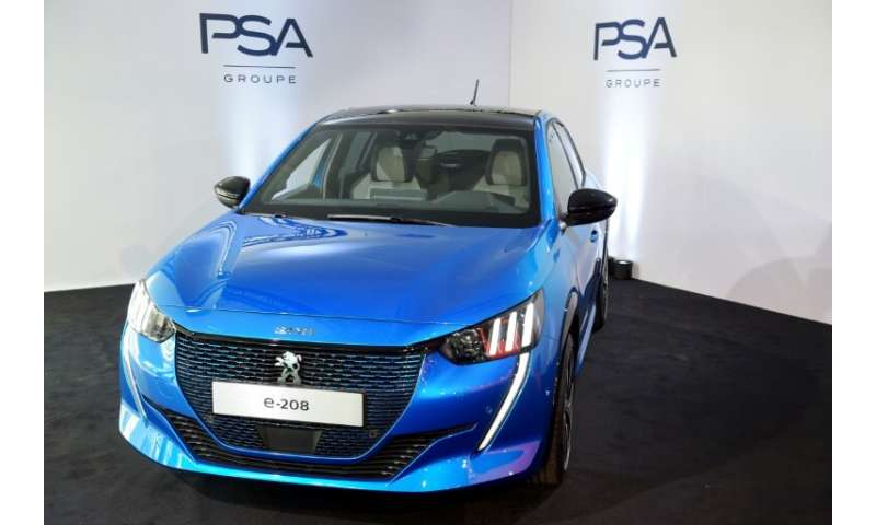 A new Peugeot e-208 presented at the French carmaker PSA Groupe headquarters last month.