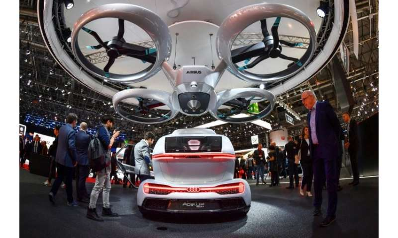 """A number of designs for flying cars have been unveiled including the """"Pop.up next"""" by Audi, italdesign and Airbus seen"""