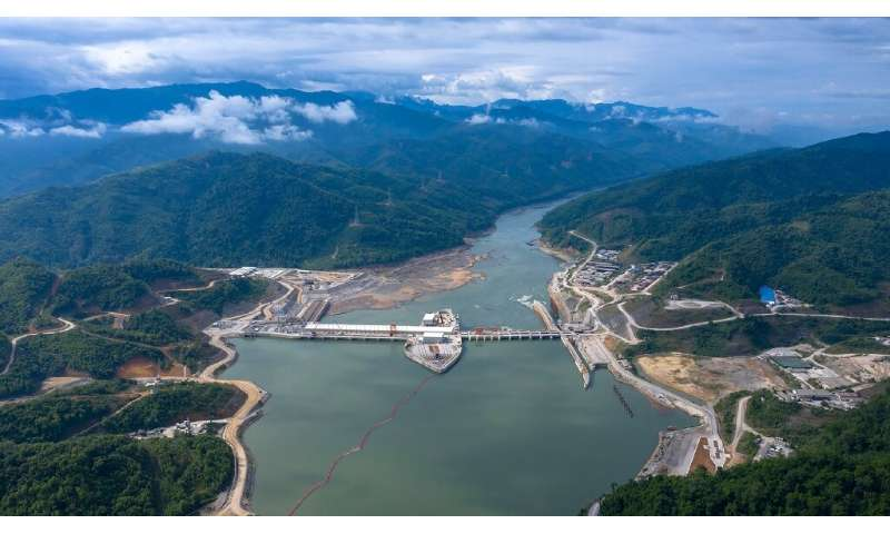 An undated CK Power-issued photo shows shows the Xayaburi dam hydro project on a swollen Mekong river in Laos, but independent i