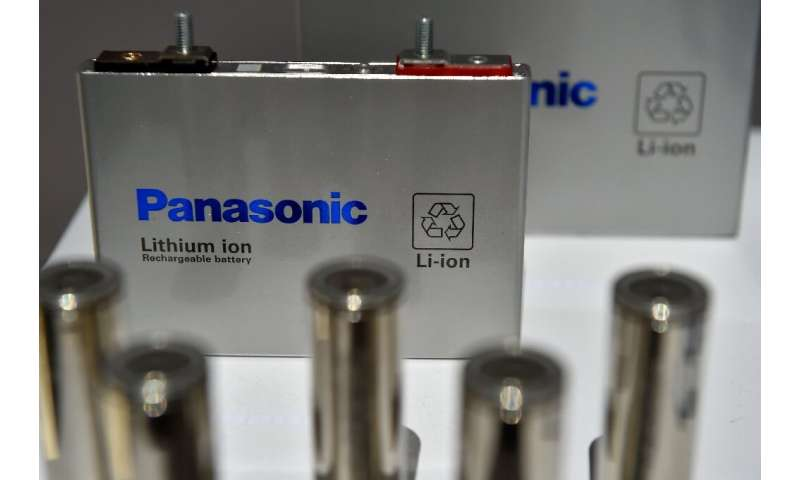 A Panasonic lithium-ion battery on  display at the CES consumer technology trade show in 2018. The Japanese firm is one of the w