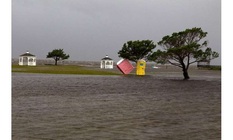 A park floods in Rodanthe, North Carolina as Hurricane Dorian hits Cape Hatteras