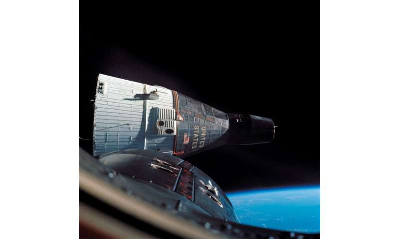 A photograph taken by Gemini VII piloted by crewmembers Jim Lovell and Frank Borman during a mission in which Gemini VI and VII