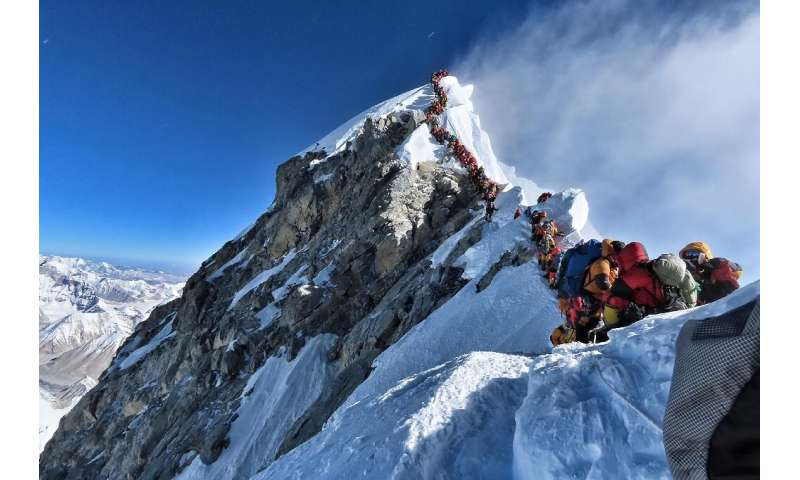 A picture taken by highly experienced climber Nirmal Purja showed the extent of crowding near the summit of Everest